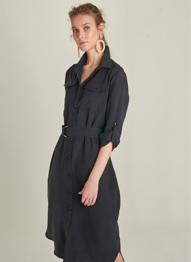 Ng Style Cep Detaylı Gömlek Elbise Siyah